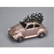 Vintage borgárhátú LEDes, elemes poly rosegold karácsonyi autó