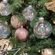 Gömbdísz üveg 10cm átlátszó szivárványos 4 db-os Karácsonyfa gömb