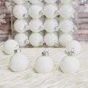 Gömb üveg 4cm fehér fényes 64 db/szett