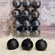 Gömb üveg 5,7 cm fekete matt-fényes 36db/szett