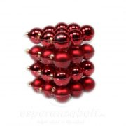 Gömb üveg 5,7cm piros fényes-mat 36db-os szett