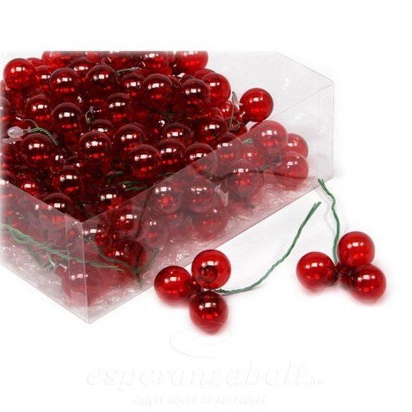 Gömb betűzös üveg 2cm piros átlátszó 144 db