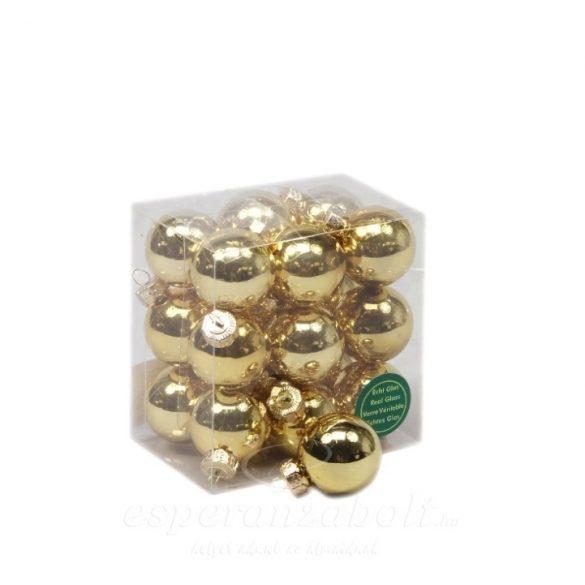Gömb üveg 3cm arany fényes S/18 18db-os kiszerelés