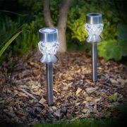 Napelemes lámpa leszúrható üveg búra, rozsdamentes acél 370mm