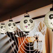 Halloween szellem LED-es lampion 20 cm