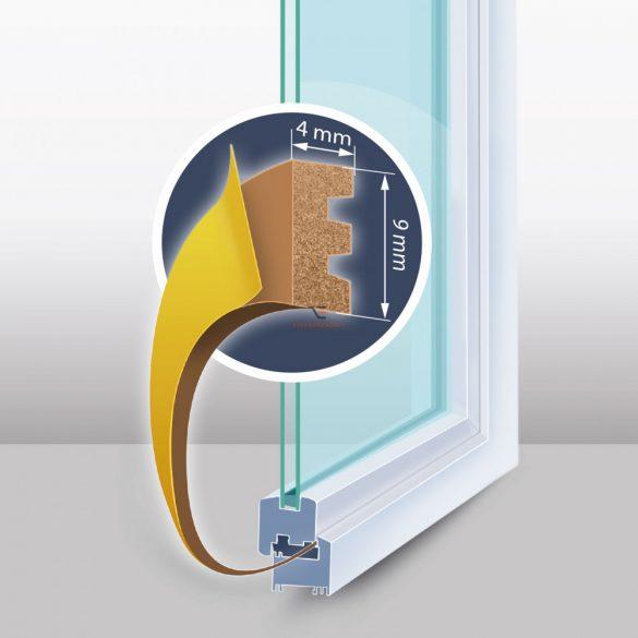 """Öntapadós ajtó- ablakszigetelő """"E"""" profil - 100 m barna 9 mm"""