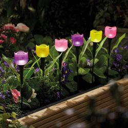 Szolár kerti napelemes Tulipán 3db-os szett