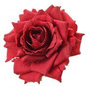 Selyemvirág rózsafej 8 cm bordó 12 db-os szett