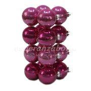 Gömb üveg 8 cm sötét pink 16db/szett