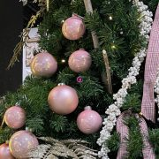 Gömbdísz üveg 10cm rózsaszín fényes-matt 4 db-os Karácsonyfa gömb