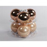 Gömbdísz üveg dobozos 8cm bronz matt-fényes 6 db-os Karácsonyfa gömb