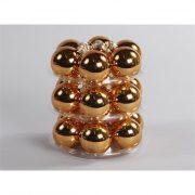 Gömbdísz üveg dobozban 4 cm réz 18 db-os Karácsonyfa gömb