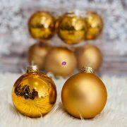 Gömbdísz üveg dobozban 7 cm réz 8 db-os Karácsonyfa gömb
