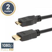 Mini HDMI kábel • 2 m aranyozott csatlakozóval