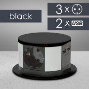 Elosztó rejtett, 3-as + USB fekete