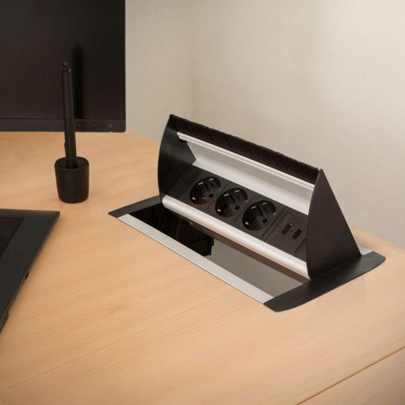 Rejtett elosztó - 3-as felnyíló kivitel 2 x USB, 2,1A ezüst
