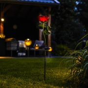 """""""Rose"""" Virág alakú leszúrható szolár lámpa  LED 85 cm fém, üveg"""
