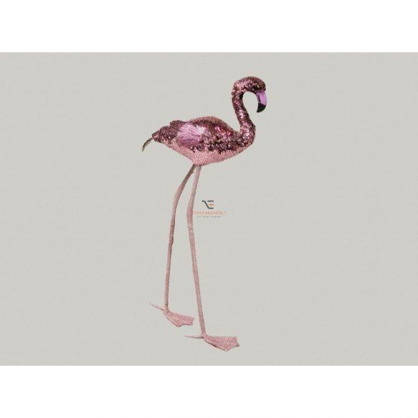 Flamingó flitteres műanyag 67 cm rózsaszín/arany karácsonyi álló dísz