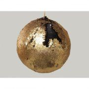 Gömbdísz flitteres műanyag 15cm fekete/arany Karácsonyfa gömb
