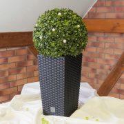 Kültéri rattan hatású kaspó négyszögletű fekete 42 cm