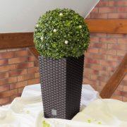 Kültéri rattan hatású kaspó négyszögletű barna 42 cm