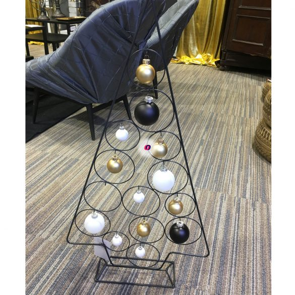 Fenyőfa álló fém 74cm fekete karácsonyi álló dísz
