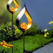 Embrace Rusztikus alakú leszúrható szolár lámpa pislákoló LED 85 cm fém, üveg