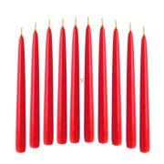 Gyertya húzott 2x20cm piros 10 db-os szett