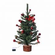 Fenyőfa műanyag 50cm zöld, piros karácsonyi LED figura