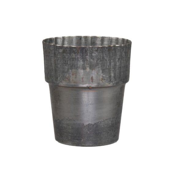 Kaspó kerek fém 10x12 cm szürke