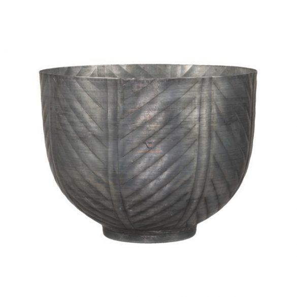 Kaspó kerek csíkos fém 20,5x15,5 cm szürke
