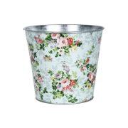 Kaspó virágos fém 15x11x14 cm színes