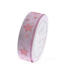Karácsonyi Szalag glitteres csillagokkal 25mmx20m rózsaszín