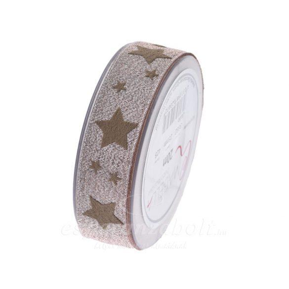 Karácsonyi Szalag glitteres csillagokkal 25mmx20m púder