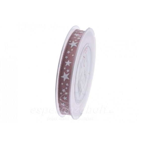 Karácsonyi Szalag fehér csillagokkal 15mmx15m rózsaszín