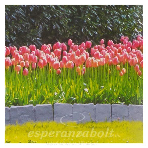 Kerti ágyásszegély Kő mintás Pro Garden 10db/szett virágágyás szegély 25x22,5cm