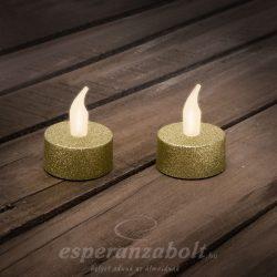 LED-es teamécses AJÁNDÉK ELEMMEL arany 2db