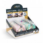 AUX adatkábel 3,5 mm jack  szövet bevonat 6 szín 1 m