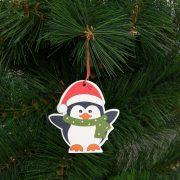 Karácsonyfadísz szett pingvin fából 8 x 6 cm 2 db / csomag