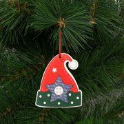 Karácsonyfadísz szett manósapka fából 8 x 6 cm 2 db / csomag