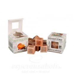 Viasz kocka illatos 3x3x3cm narancs-fahéj 8db/doboz