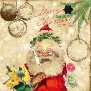 Papír Szalvéta 3 rétegű - Santas Wish List 33x33cm piros, natúr  20db/csomag