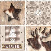 Papír Szalvéta 3 rétegű - Wintertime 33x33cm natúr 20db/csomag