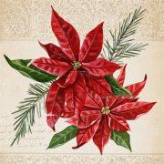 Papír Szalvéta 3 rétegű - Vintage Poinsettia 33x33cm fehér,arany 20 db/szett