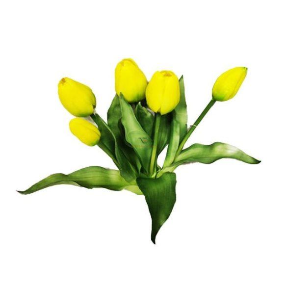 Selyemvirág Tulipán csokor gumi 32 cm sárga