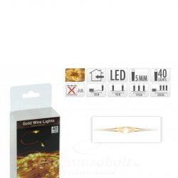 40 Micro LEDes fényfüzér aranydrót extra melegfehér elemes 205cm