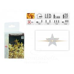 20 LEDes fényfűzér csillag aranydrót extra melegfehér, Hidegfehér, Színes beltéri elemes 105cm