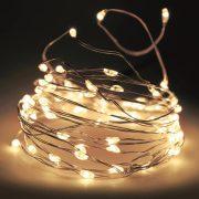 Micro LED fényfűzér 40 LED melegfehér ezüstdrót elemes