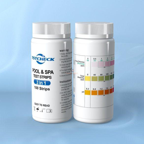 Tstcheck vízelemző, 100 db medence tesztcsík PH CL Br TA 4in1 PH tesztcsík, PH mérő