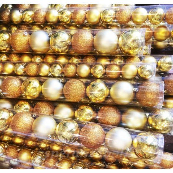Gömb műanyag 3 féle 2,5cm arany S/24 24db-os kiszerelés